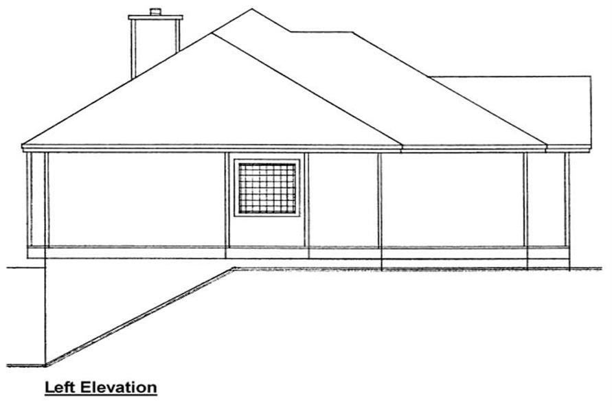 Home Plan Left Elevation of this 3-Bedroom,1407 Sq Ft Plan -177-1017