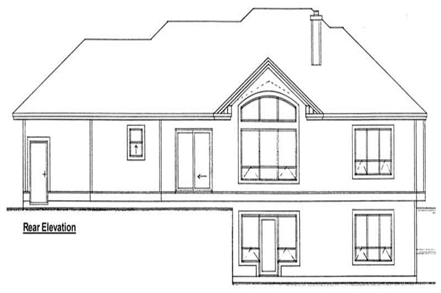Home Plan Rear Elevation of this 3-Bedroom,1407 Sq Ft Plan -177-1017