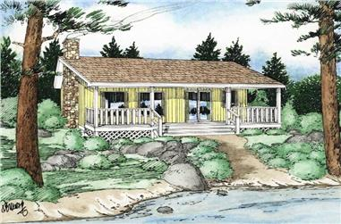 2-Bedroom, 884 Sq Ft Country Home Plan - 177-1020 - Main Exterior