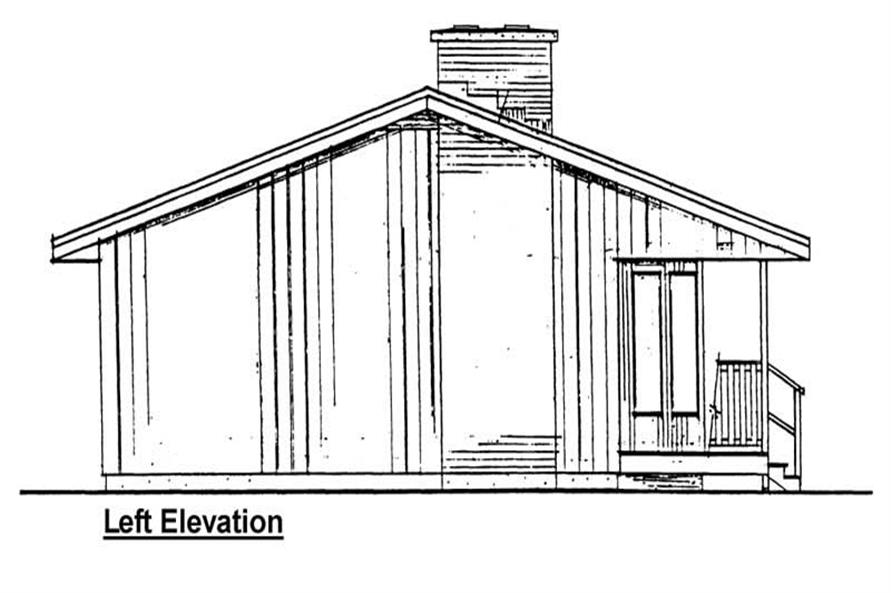 Home Plan Left Elevation of this 2-Bedroom,884 Sq Ft Plan -177-1020