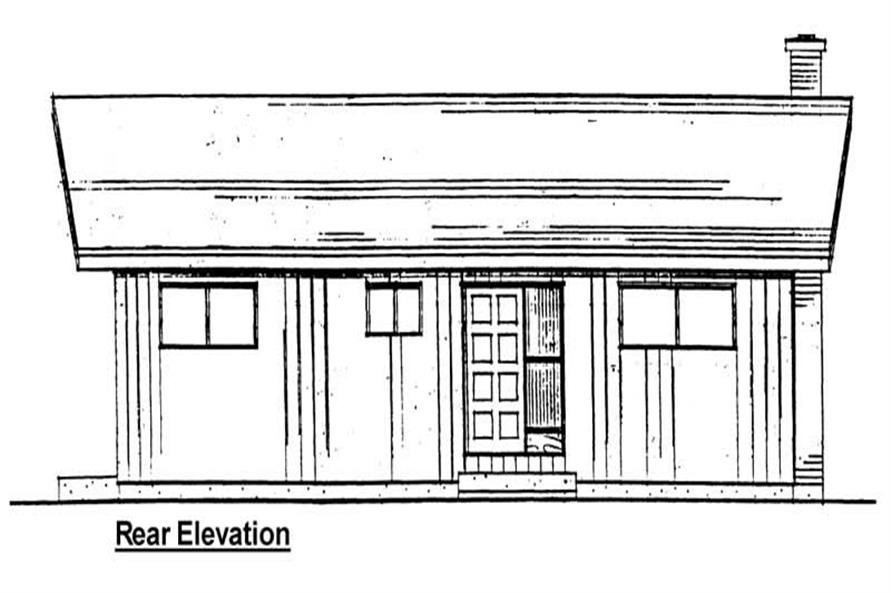Home Plan Rear Elevation of this 2-Bedroom,884 Sq Ft Plan -177-1020