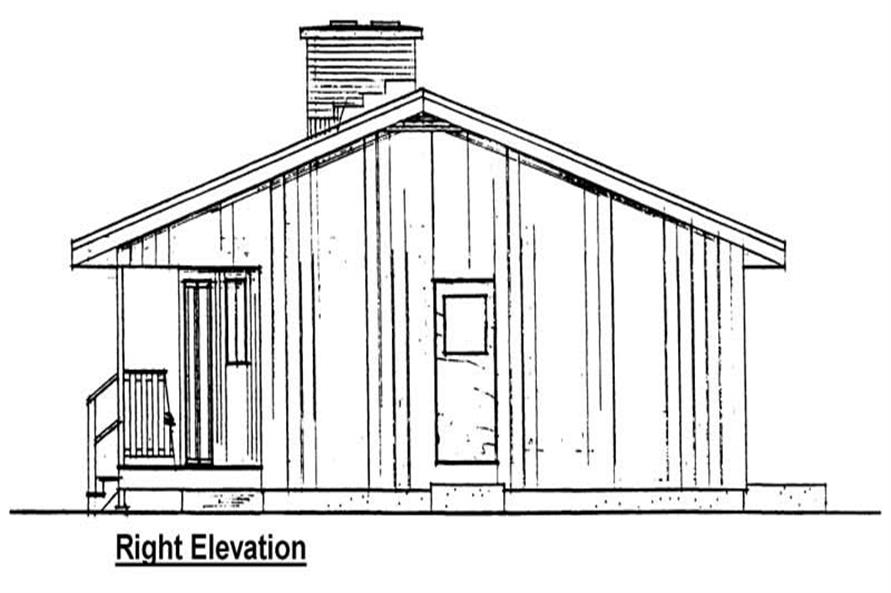 Home Plan Right Elevation of this 2-Bedroom,884 Sq Ft Plan -177-1020