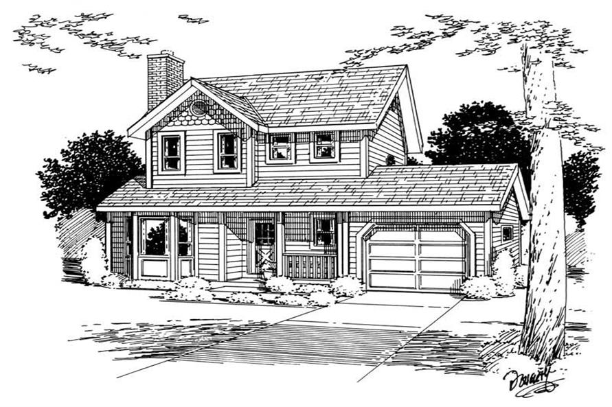 Home Plan Front Elevation of this 3-Bedroom,1206 Sq Ft Plan -177-1021