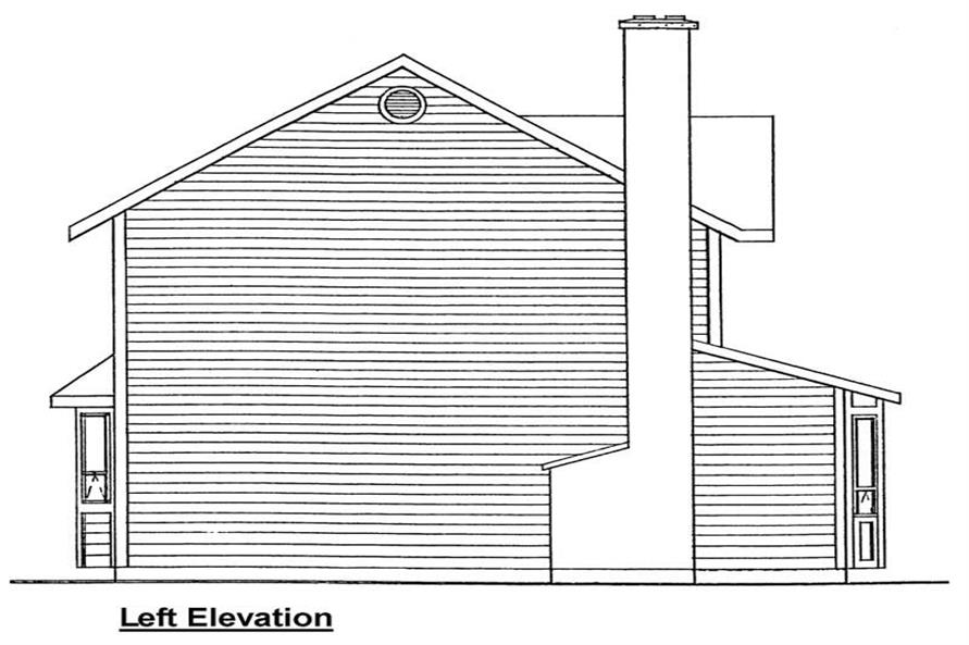 Home Plan Left Elevation of this 3-Bedroom,1206 Sq Ft Plan -177-1021