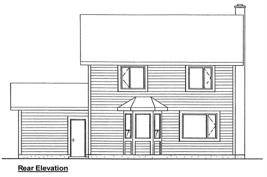 Home Plan Rear Elevation of this 3-Bedroom,1206 Sq Ft Plan -177-1021