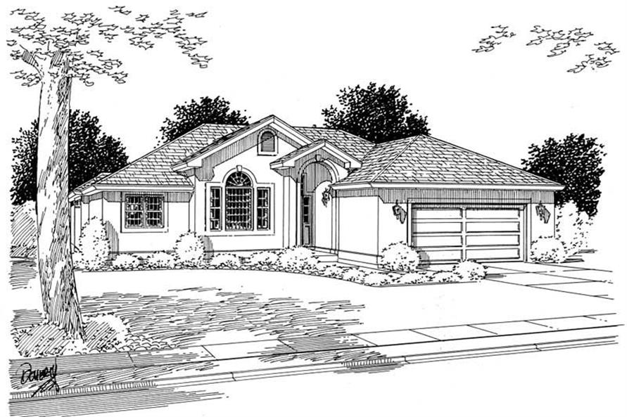Home Plan Front Elevation of this 3-Bedroom,1626 Sq Ft Plan -177-1022