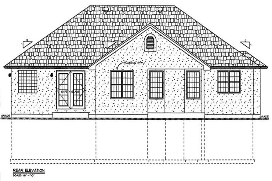 Home Plan Rear Elevation of this 3-Bedroom,1626 Sq Ft Plan -177-1022