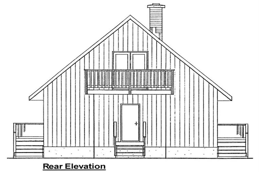 Home Plan Rear Elevation of this 3-Bedroom,1011 Sq Ft Plan -177-1023