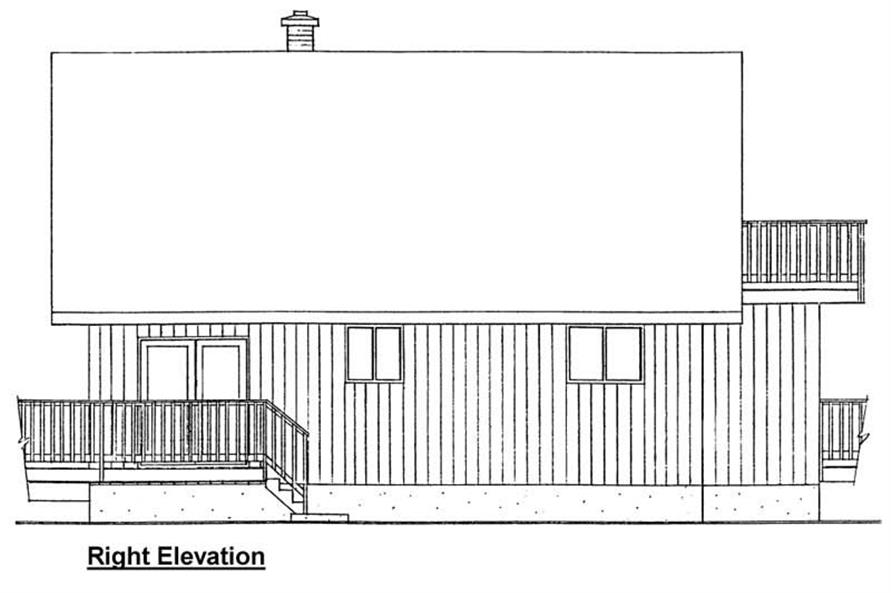 Home Plan Right Elevation of this 3-Bedroom,1011 Sq Ft Plan -177-1023