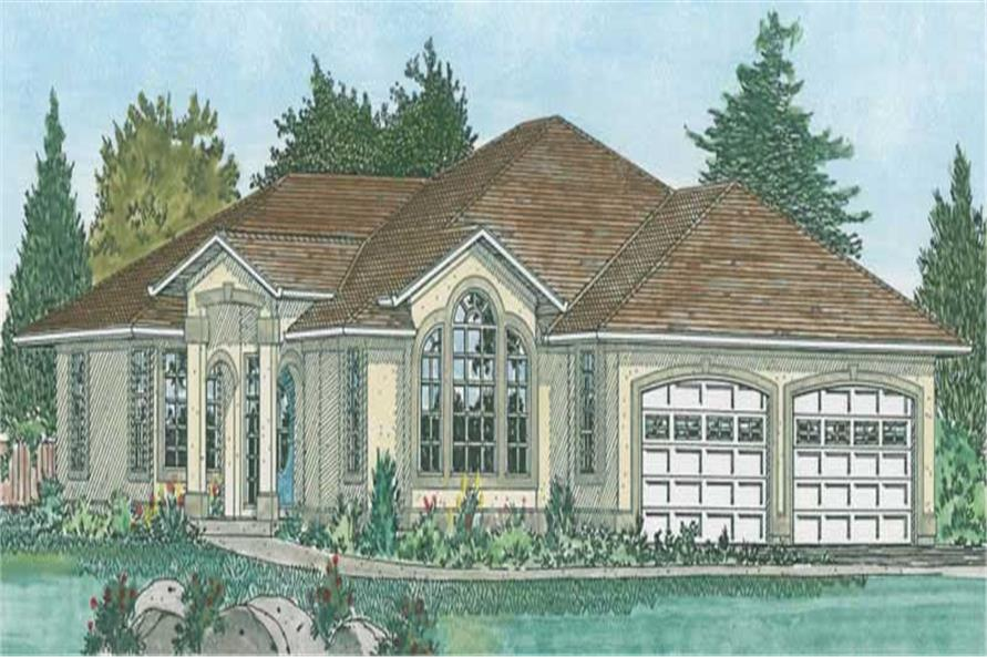 3-Bedroom, 1833 Sq Ft Mediterranean Home Plan - 177-1025 - Main Exterior