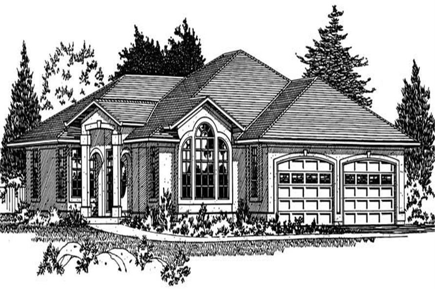 Home Plan Front Elevation of this 3-Bedroom,1833 Sq Ft Plan -177-1025