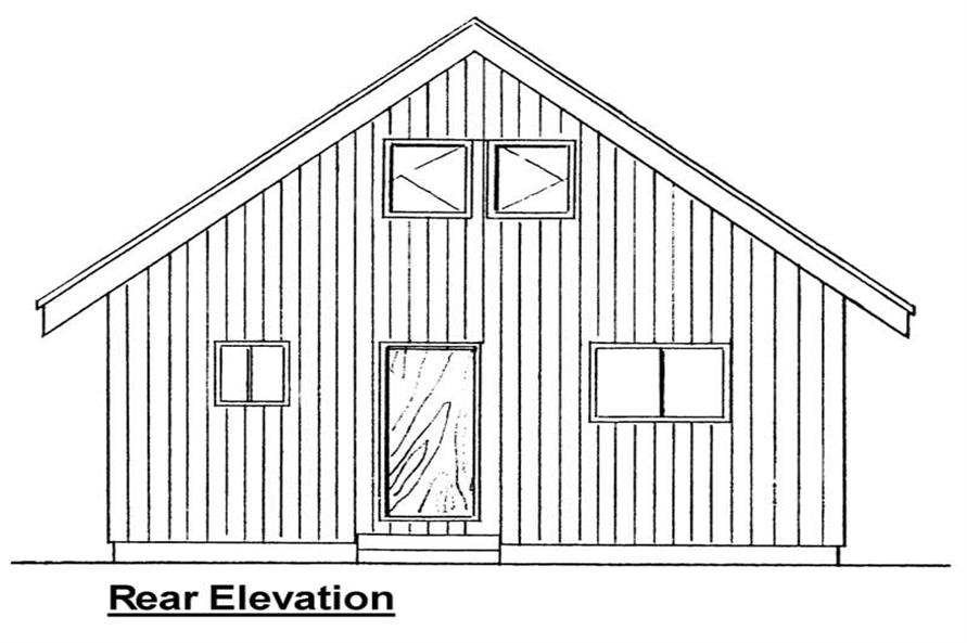 Home Plan Rear Elevation of this 2-Bedroom,796 Sq Ft Plan -177-1027