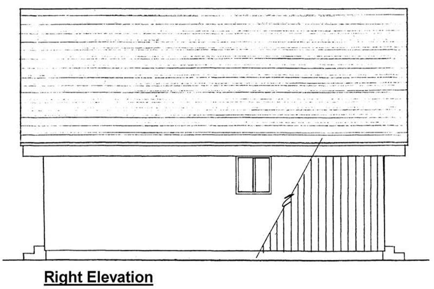 Home Plan Right Elevation of this 2-Bedroom,796 Sq Ft Plan -177-1027