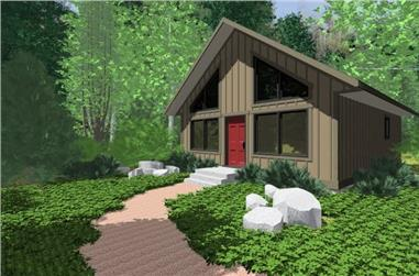 2-Bedroom, 796 Sq Ft Small House Plans - 177-1027 - Main Exterior