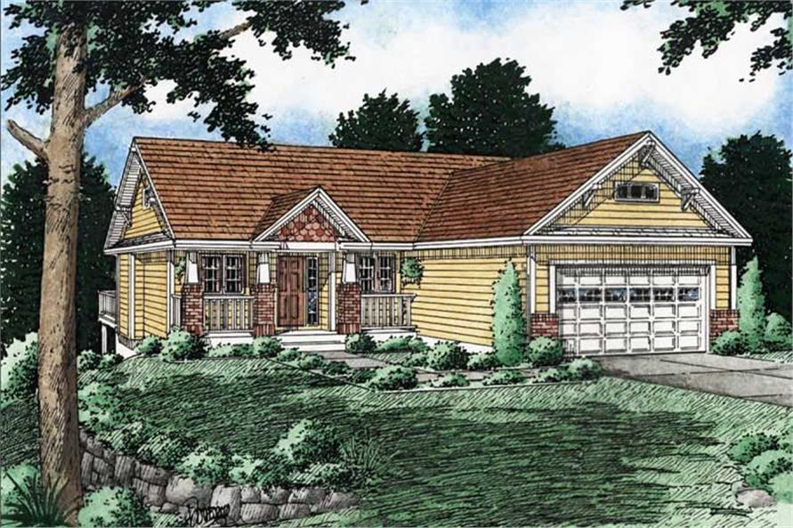 3-Bedroom, 1368 Sq Ft Craftsman Home Plan - 177-1028 - Main Exterior