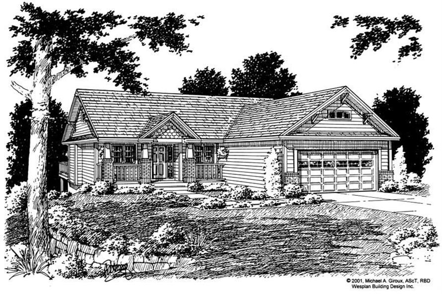 Home Plan Front Elevation of this 3-Bedroom,1368 Sq Ft Plan -177-1028