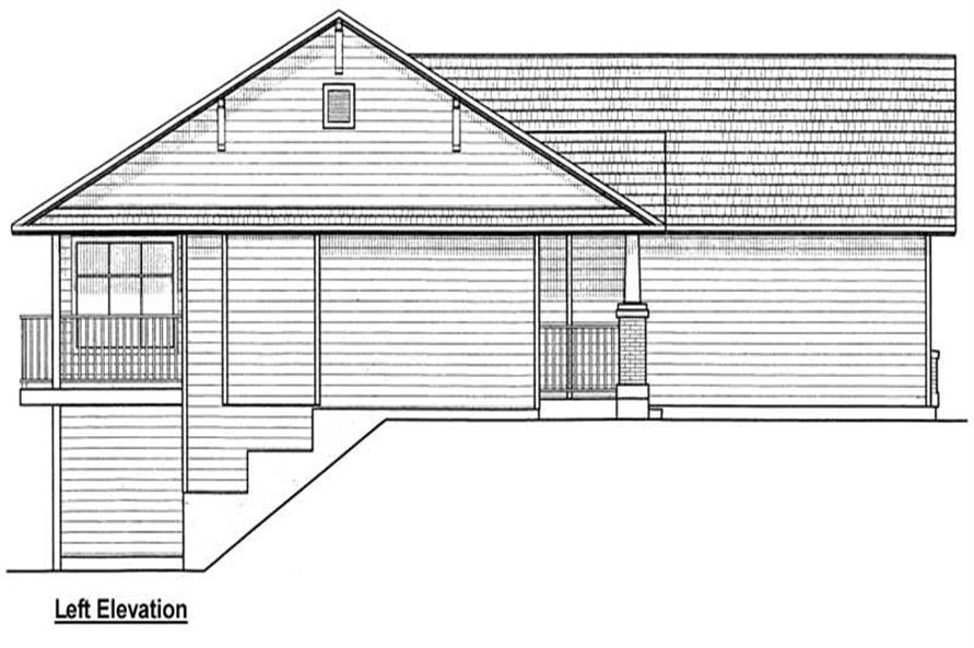 Home Plan Left Elevation of this 3-Bedroom,1368 Sq Ft Plan -177-1028