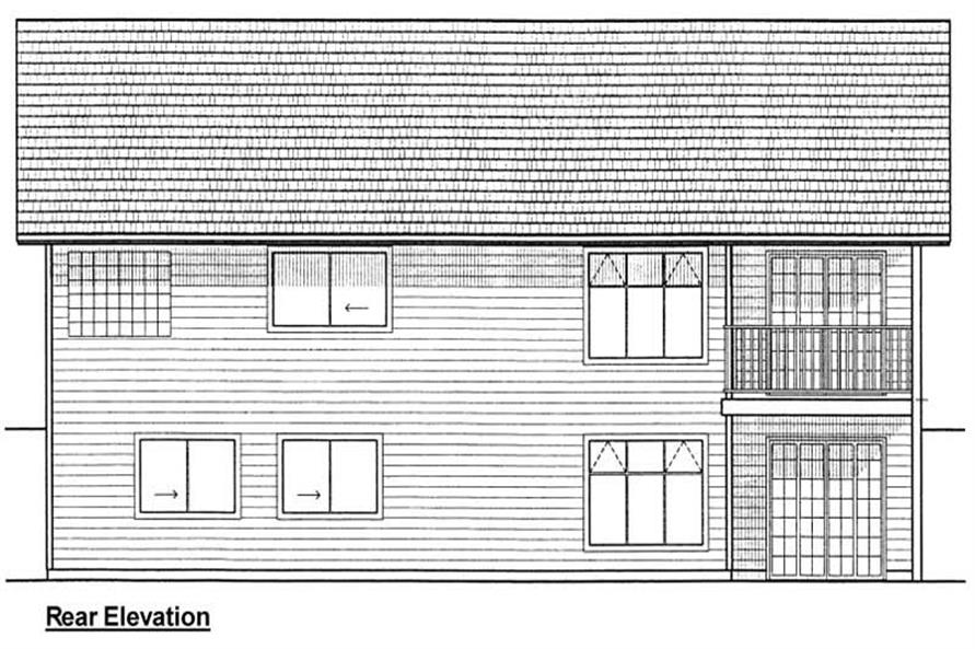 Home Plan Rear Elevation of this 3-Bedroom,1368 Sq Ft Plan -177-1028