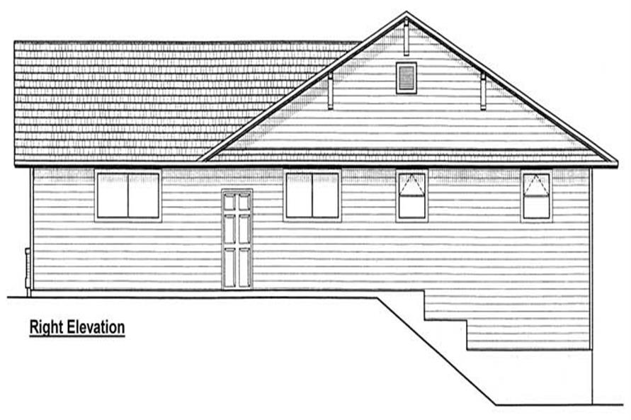 Home Plan Right Elevation of this 3-Bedroom,1368 Sq Ft Plan -177-1028