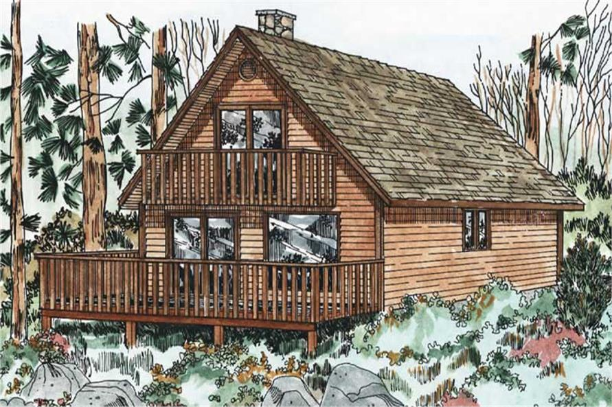 3-Bedroom, 1362 Sq Ft Log Cabin Home Plan - 177-1030 - Main Exterior