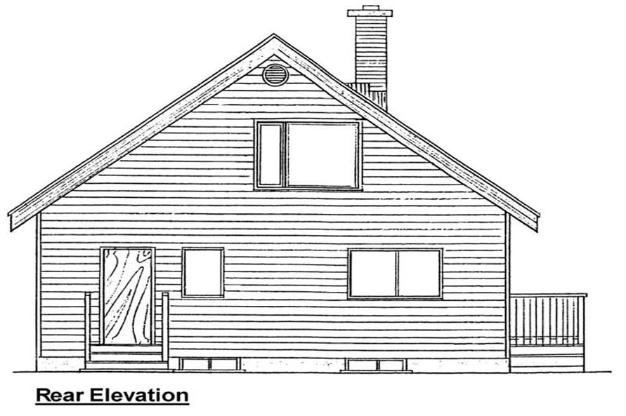Home Plan Rear Elevation of this 3-Bedroom,1362 Sq Ft Plan -177-1030