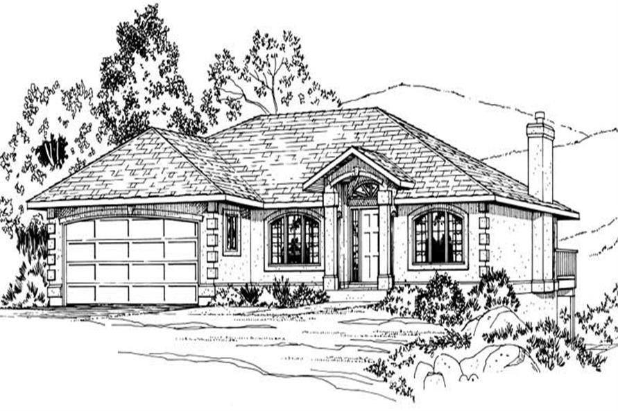 Home Plan Front Elevation of this 3-Bedroom,1423 Sq Ft Plan -177-1036