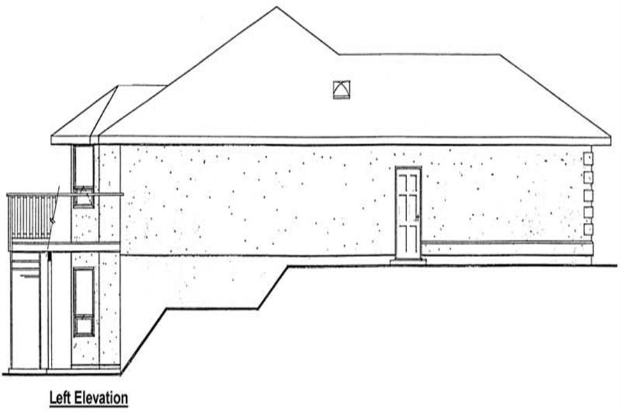 Home Plan Left Elevation of this 3-Bedroom,1423 Sq Ft Plan -177-1036