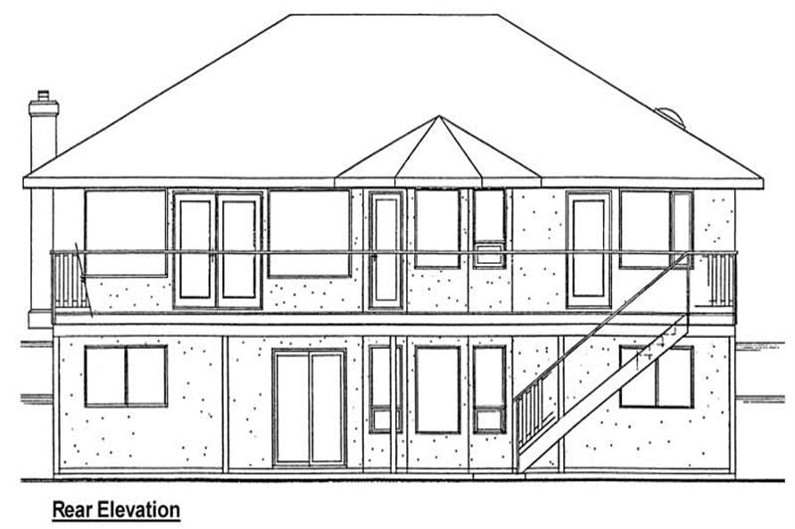 Home Plan Rear Elevation of this 3-Bedroom,1423 Sq Ft Plan -177-1036