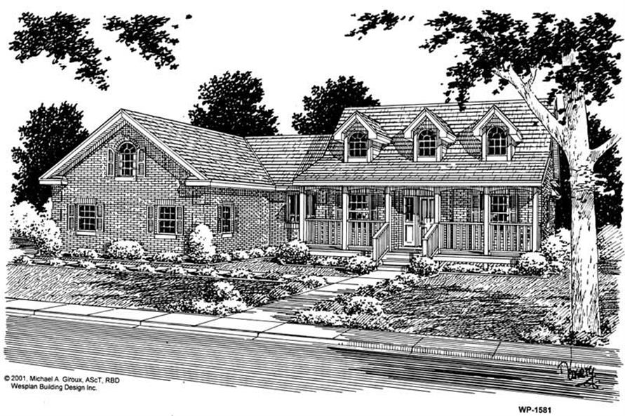 Home Plan Front Elevation of this 3-Bedroom,1734 Sq Ft Plan -177-1038