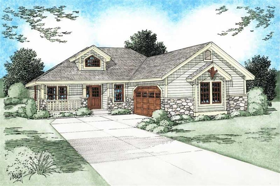 3-Bedroom, 1546 Sq Ft Bungalow House Plan - 177-1039 - Front Exterior