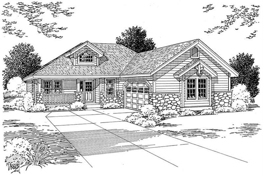 Home Plan Front Elevation of this 3-Bedroom,1546 Sq Ft Plan -177-1039