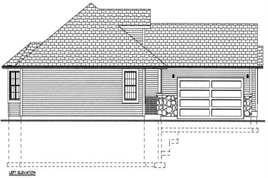 Home Plan Left Elevation of this 3-Bedroom,1546 Sq Ft Plan -177-1039