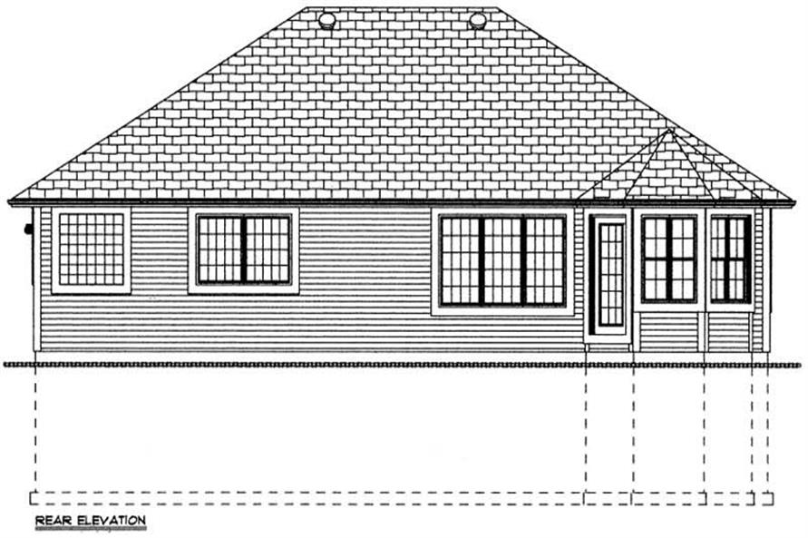 Home Plan Rear Elevation of this 3-Bedroom,1546 Sq Ft Plan -177-1039