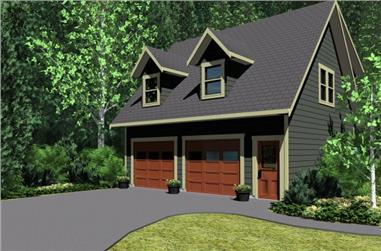 1-Bedroom, 654 Sq Ft Garage w/Apartments House Plan - 177-1040 - Front Exterior