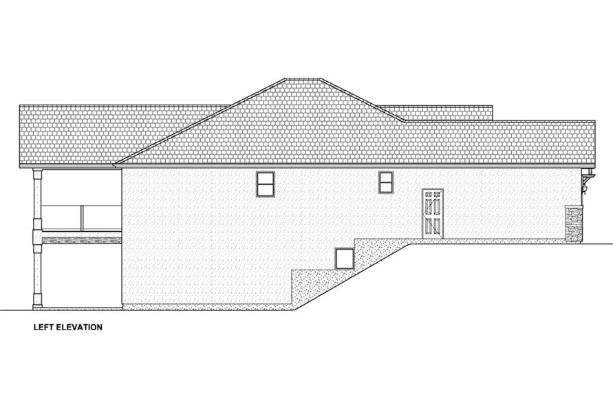 Home Plan Left Elevation of this 5-Bedroom,3850 Sq Ft Plan -177-1041