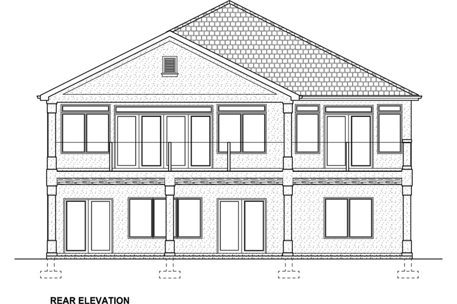 Home Plan Rear Elevation of this 5-Bedroom,3850 Sq Ft Plan -177-1041