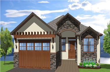 Front elevation of Mediterranean home (ThePlanCollection: House Plan #177-1041)