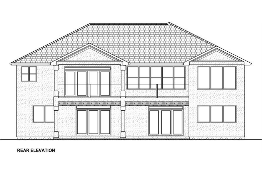 177-1042: Home Plan Rear Elevation