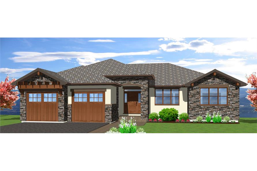Front elevation of Mediterranean home (ThePlanCollection: House Plan #177-1042)