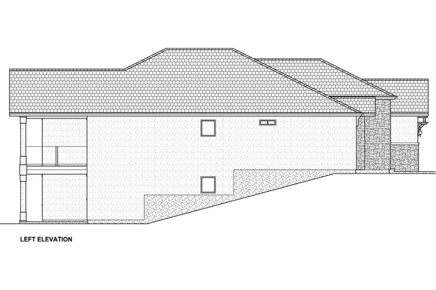 Home Plan Left Elevation of this 3-Bedroom,3952 Sq Ft Plan -177-1043