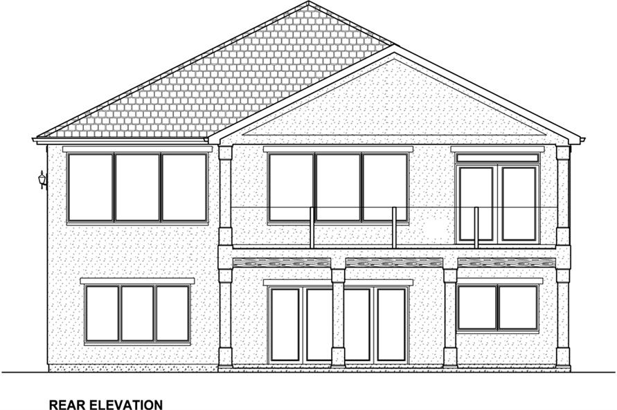 Home Plan Rear Elevation of this 3-Bedroom,3952 Sq Ft Plan -177-1043