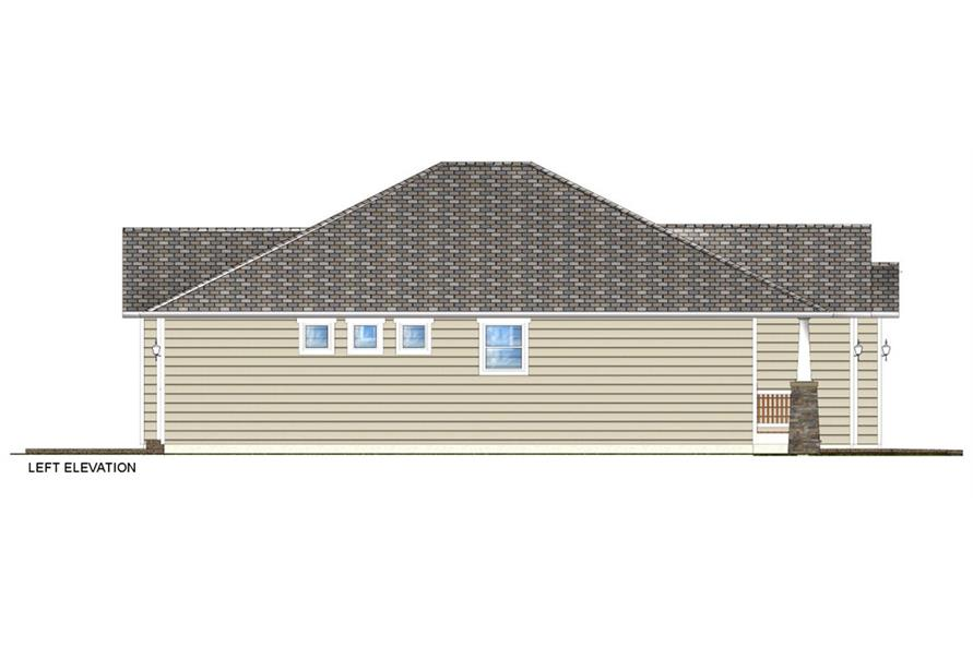 Home Plan Left Elevation of this 3-Bedroom,1403 Sq Ft Plan -177-1044