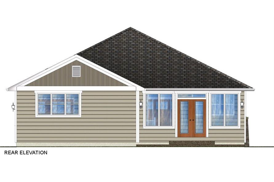 Home Plan Rear Elevation of this 3-Bedroom,1403 Sq Ft Plan -177-1044