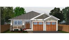 Front elevation of Craftsman home (ThePlanCollection: House Plan #177-1044)