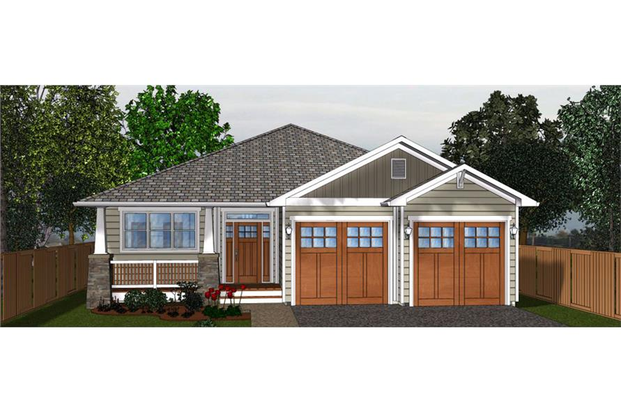 3-Bedroom, 1403 Sq Ft Craftsman House Plan - 177-1044 - Front Exterior