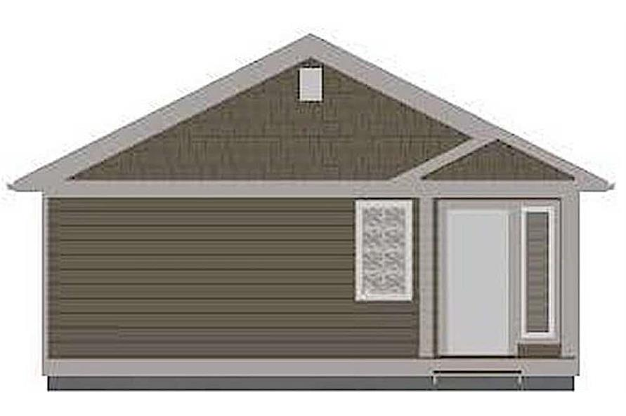 Home Plan Rear Elevation of this 1-Bedroom,624 Sq Ft Plan -177-1047