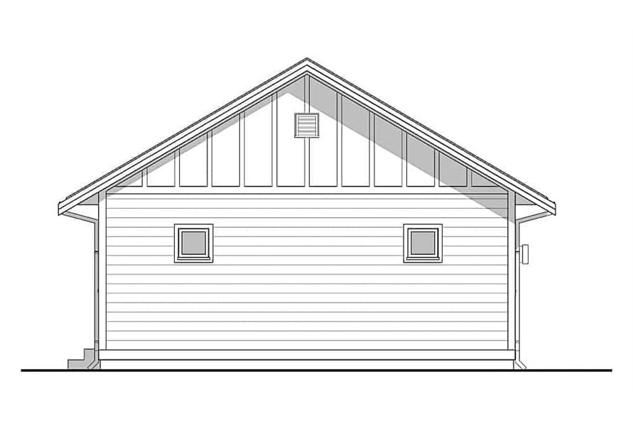 Home Plan Rear Elevation of this 3-Bedroom,967 Sq Ft Plan -177-1048