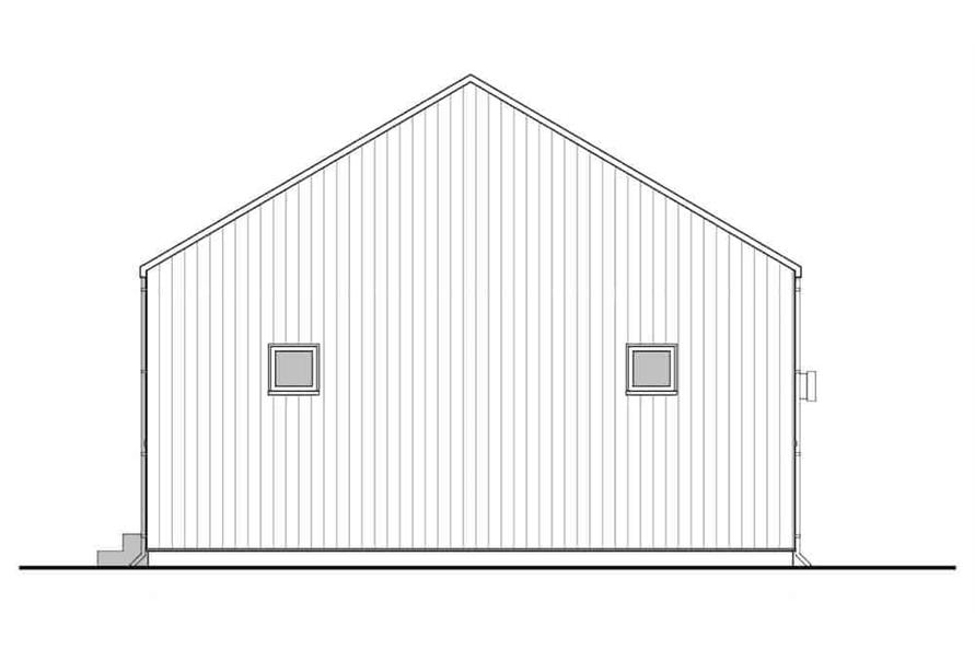 Home Plan Rear Elevation of this 3-Bedroom,967 Sq Ft Plan -177-1049