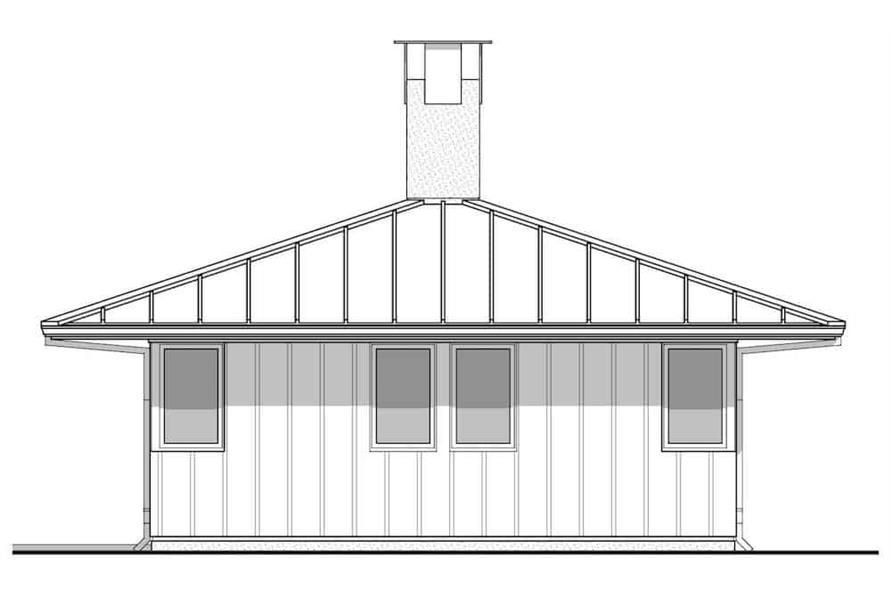 Home Plan Rear Elevation of this 2-Bedroom,576 Sq Ft Plan -177-1051