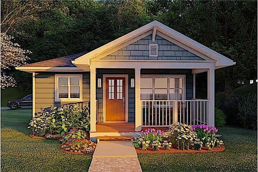 Front View of this 1-Bedroom,624 Sq Ft Plan -177-1054
